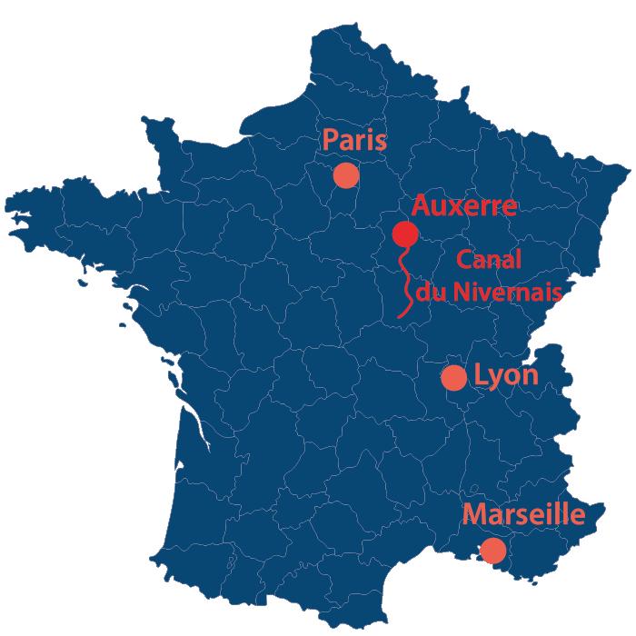 Situation géographique du Canal du Nivernais en France