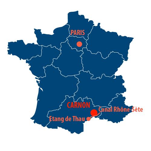 Situation géographique de la Camargue en France