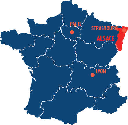 Situation géographique de l'Alsace en France