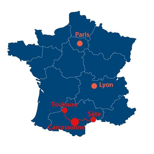 Situation géographique du canal du Midi en France