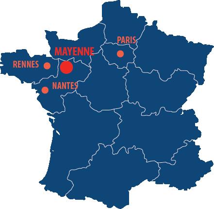 Situation géographique de la Mayenne en France