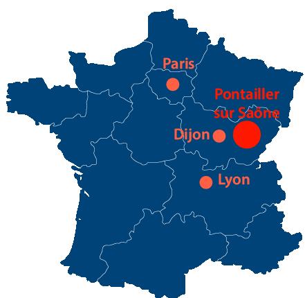 Situation géographique de Pontailler-sur-Saône en France